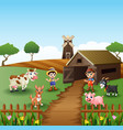 young farmers activities with animals front of cag vector image vector image