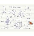 Mathematics sketches on school board vector image