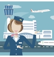 Stewardess on the Background of Airport and vector image
