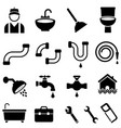 kitchen bathroom and house plumbing icons vector image