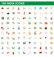 100 india icons set cartoon style vector image vector image