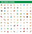 100 india icons set cartoon style