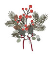 a simple rural christmas composition - branches of vector image