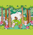 animals in the forest doodles cartoons vector image