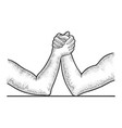 arm wrestler hands sketch vector image vector image