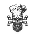 bearded and mustached chef skull vector image vector image