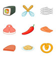 beefsteak icons set cartoon style vector image vector image
