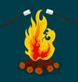 bonfire - camping burning woodpile campfire or vector image vector image