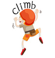 Boy with helmet climbing up the wall vector image vector image