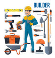 builder with construction and house repair tools vector image vector image