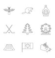 canada icon set outline style vector image vector image