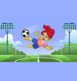 cartoon girl soccer player kicking ball vector image