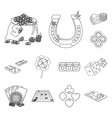 casino and equipment outline icons in set vector image vector image