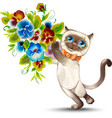 cat with a bouquet of flowers vector image