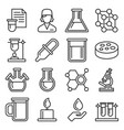 chemical icons set on white background line style vector image vector image