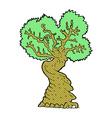 Comic cartoon big old tree vector image