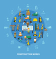 construction worker colored composition vector image