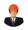 construction worker face icon engineer flat vector image vector image