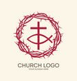 crown of thorns cross and fish vector image vector image