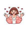 cute emotional anime girl portrait happy female vector image