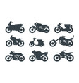 different motorized vehicles black glyph icons set vector image