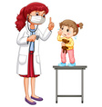 Doctor examining little girl vector image