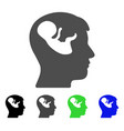 embryo mind head flat icon vector image vector image