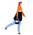 female character in overcoat holding handbag vector image