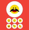 flat icon face set of cheerful joy laugh and vector image vector image
