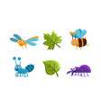 flat set of funny insects and green leaves vector image
