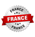 France round silver badge with red ribbon vector image vector image