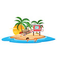 fun island beach scene vector image
