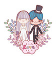 girl and boy couple marriage with clouds vector image vector image