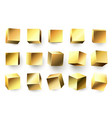 gold metal cube realistic geometric 3d square vector image vector image