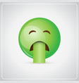 green cartoon face sick feeling bad people emotion vector image