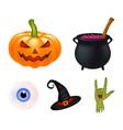 halloween cartoon set symbols collection set of vector image vector image