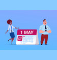 happy 1 may labor day poster with business man and vector image vector image