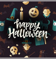 happy halloween - celebration poster on seamless vector image vector image