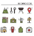 hiking and camping line icons set outdoor camp vector image vector image