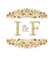 i and f vintage initials logo symbol the letters vector image vector image