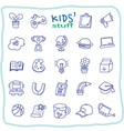 Kid stuff line icons vector image vector image