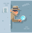 look our corner spy magnifying glass mask vector image vector image