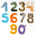 Numbers like European Forest Animals vector image