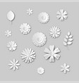 paper art flowers set gray scale white abstract vector image