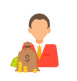 person and money bag set vector image vector image