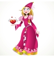 Princess in pink dress giving heart and love vector image vector image