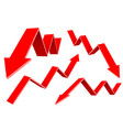 red financial up and down moving arrows rising vector image vector image