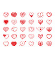 red heart doodles collection vector image