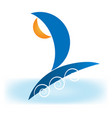 sailing boat on sea icon vector image