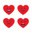 set heart emoticons love emojis vector image